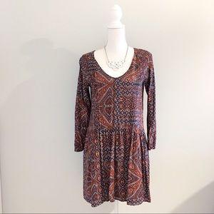 Sanctuary Boho Paisley Pleated Dress With Pockets